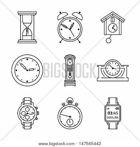 Clock and watch vector icon set. Isolate time collection. Black and white symbol. Outline pictogram design.