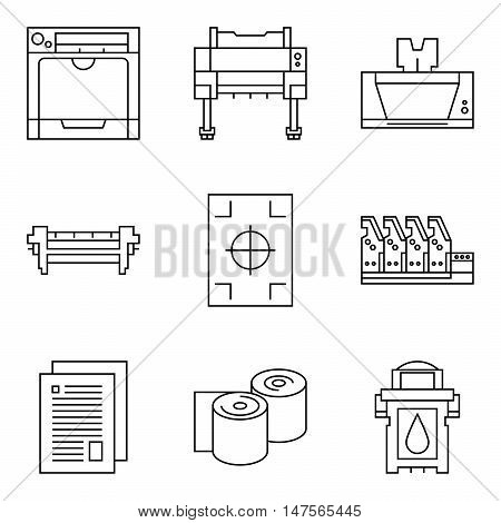 Isolated vector printer icons set. Document print equipment. Color printer on white background. Photocopier tool collection. Business copy offset and laser print. Media industry graphic symbols.