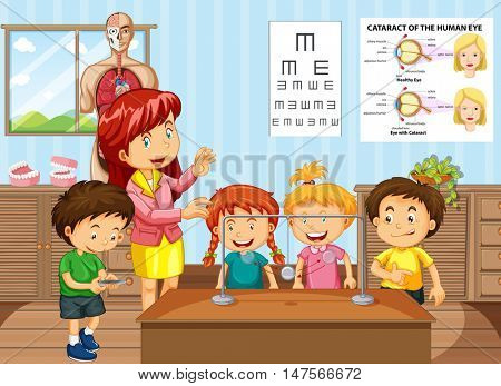 Science teacher and students in classroom illustration