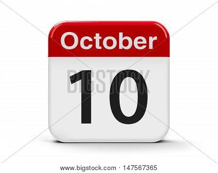Calendar web button - The Tenth of October - World Mental Health Day three-dimensional rendering 3D illustration