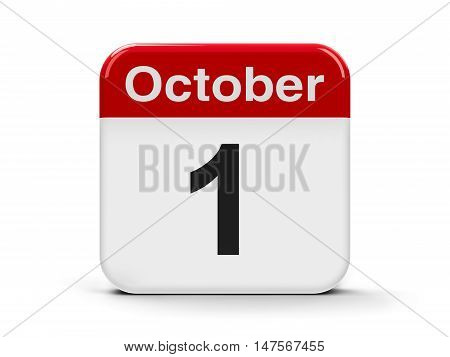 Calendar web button - The First of October - International Day of Older Persons International Music Day World Vegetarian Day Independence Day in Cyprus and Nigeria National Day in China three-dimensional rendering 3D illustration