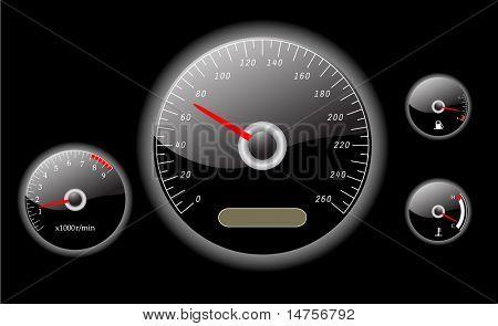 vector de instrumentos de tablero coche ilustrado