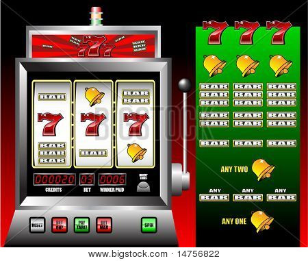 lucky seven slot machine vector illustration