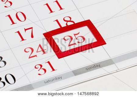 Christmas date 25 of December 2017 selected on calendar