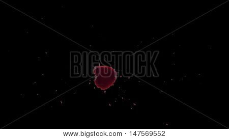 Drops of Blood Drip on the Floor. Transparent background with Alpha Channel. Easy use in motion design 4K