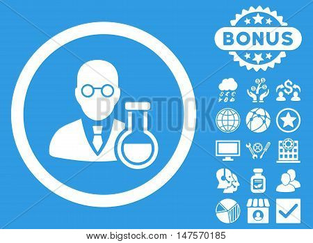 Chemist icon with bonus images. Vector illustration style is flat iconic symbols, white color, blue background.
