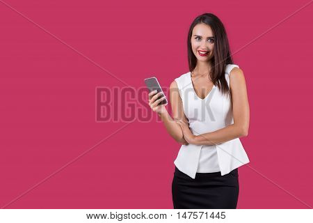 Smiling Girl With Her Mobile Phone