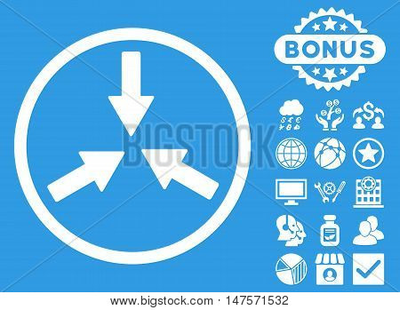 Collide Arrows icon with bonus images. Vector illustration style is flat iconic symbols, white color, blue background.