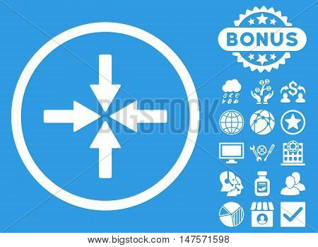 Collide Arrows icon with bonus pictogram. Vector illustration style is flat iconic symbols, white color, blue background.