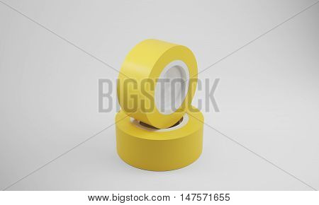 Two yellow insulation tape rolls lying on gray surface. Concept of electric work and renovation. 3d rendering mock up