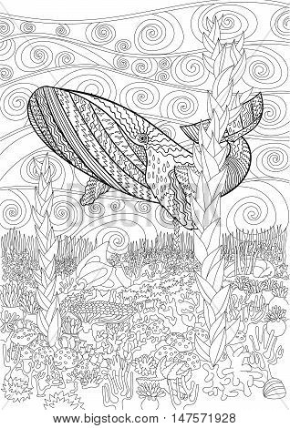 Underwater humpback whale in the waves for anti stress Coloring Page with high details, isolated on pattern background, illustration in zendoodle style. Vector monochrome drawing. Marine collection.