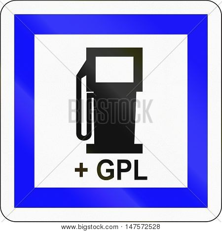 Road Sign Used In France - Petrol Station With Lpg