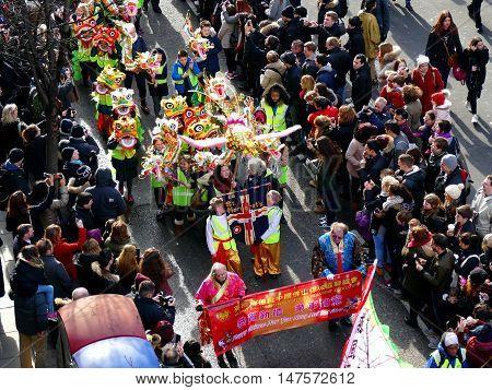 London, Uk - 14 February 2016: Chinese New Year Children In Chinese New Year 2016