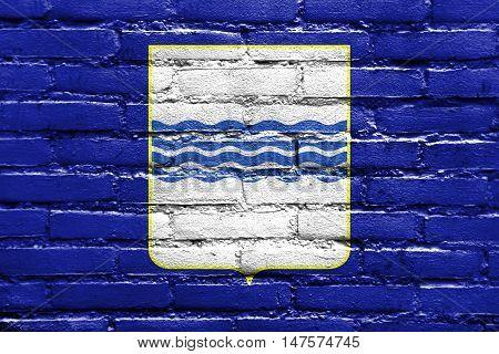 Flag Of Basilicata, Italy, Painted On Brick Wall