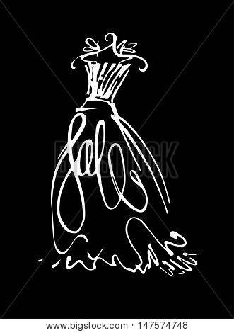 Fashion design vector illustration hand drawn. Woman dress isolated . Dress with Sale on hanger. Lettering.