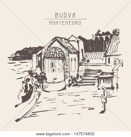sepia ink sketch drawing of historical tower in Budva Montenegro, vintage hand drawn touristic postcard, old town travel vector illustration