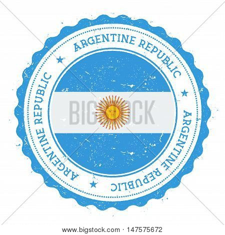 Grunge Rubber Stamp With Argentina Flag. Vintage Travel Stamp With Circular Text, Stars And National