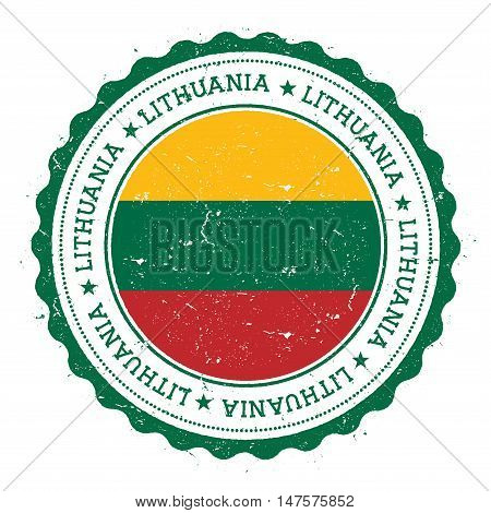 Grunge Rubber Stamp With Lithuania Flag. Vintage Travel Stamp With Circular Text, Stars And National