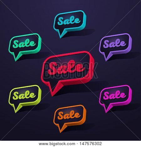 Set of Sale 3d Banner, Speech Bubble, Button on Dark Background. Ready for your Design, Website, Advertising. Vector EPS10.