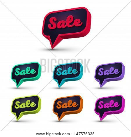 Set of Sale 3d Banner, Speech Bubble, Button on White Background. Ready for your Design, Website, Advertising. Vector EPS10.