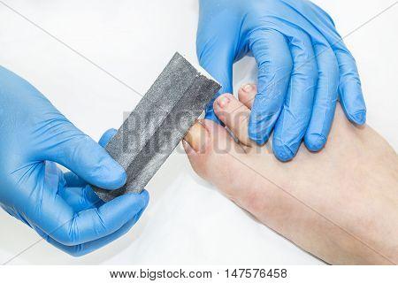 process of pedicure at beauty salon spa tool