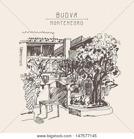 original sepia sketch drawing of Slovenska Plaza hotel street in Budva, Montenegro, travel postcard vector illustration