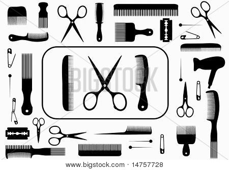collection beauty hair salon or barber accessories poster