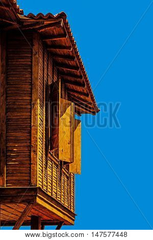 Typical Bulgarian wooden architecture in Sozopol, one of the oldest Bulgarian towns founded in the 7th century BC