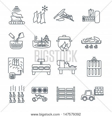 set of thin line icons meat products production process