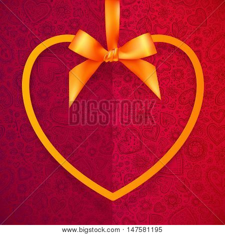 Orange vector heart shape frame hanging on silky ribbon with bow, greeting card template