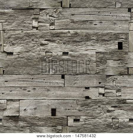 Weathered Wooden Wall Seamless Texture Pattern. Wooden Texture. Old Wooden Seamless Background. Plank Seamless Texture