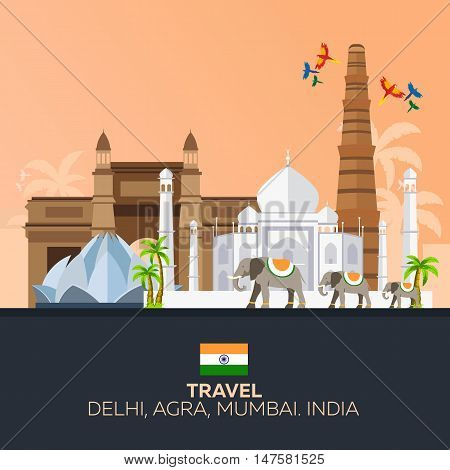 Travelling illustration Indian. Modern flat design. Indian elephant. Taj mahal, Lotus temple, gateway of India, Qutab Minar
