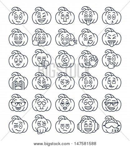 Halloween pumpkin thin line emoji emoticons. Linear smiley face holiday symbol flat vector icons.