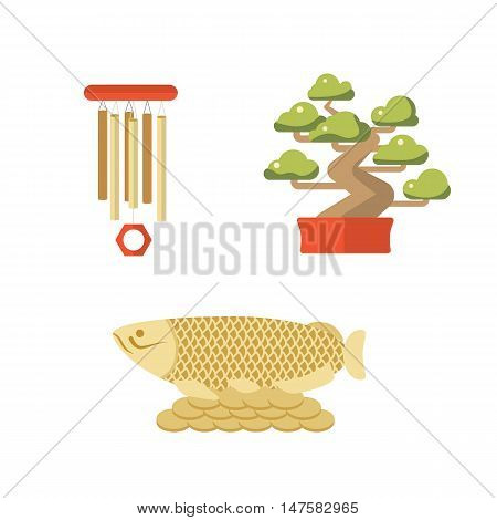 Symbols of Japan and China bonsai fish wind chime. Feng Shui vector icon. Travel China and Japan vector set. Isolated elements of asian culture