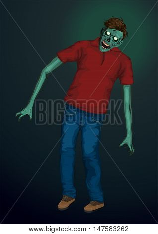 Halloween zombi zombie monster beast skeleton going skull head hipster hairstyle T-shirt jeans sneakers. Vector vertical closeup view front full height illustration signboard icon on blue background