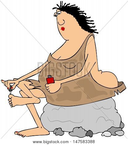 Illustration of a chubby cave woman sitting on a rock and painting her toenails.