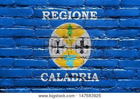 Flag Of Calabria, Italy, Painted On Brick Wall