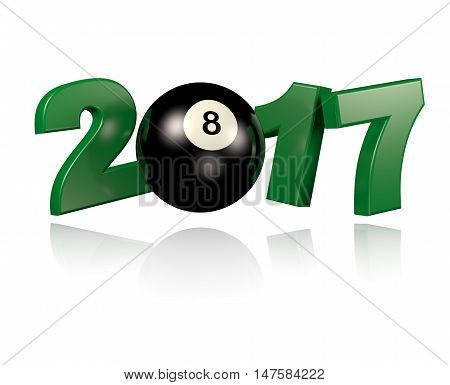 3D illustration of Pool ball 2017 design with a White Background