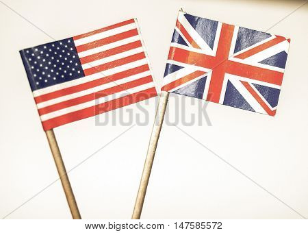 Vintage Looking British And American Flags