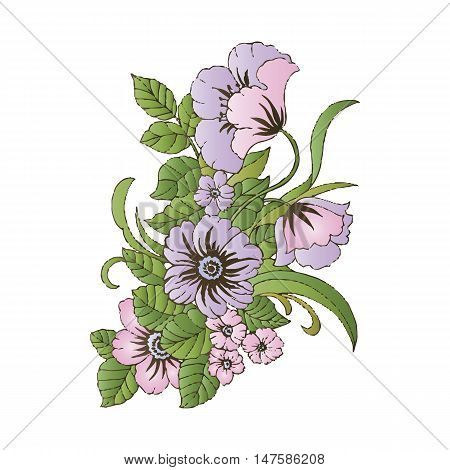 Summer Vintage Floral Greeting Card with pansies and garden flowers, Thank you botanical natural hydrangea Illustration on white in watercolor style. - stock vector