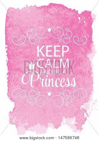Pink Princess Crown Background Vector Illustration. EPS10