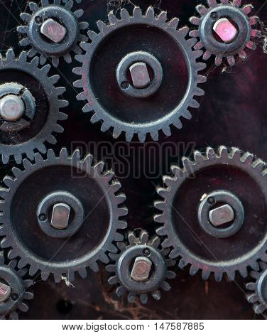 fragment of the machine. plastic dusty and dirty gears