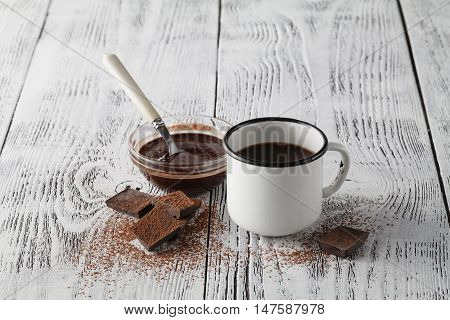 Good Morning With Frothy Espresso In White Vintage Cup
