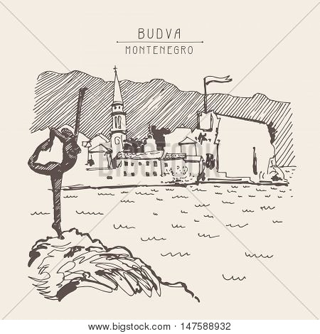 sketch drawing of Budva Montenegro top view with famous skulpture and old town tower, vintage touristic postcard, travel vector illustration
