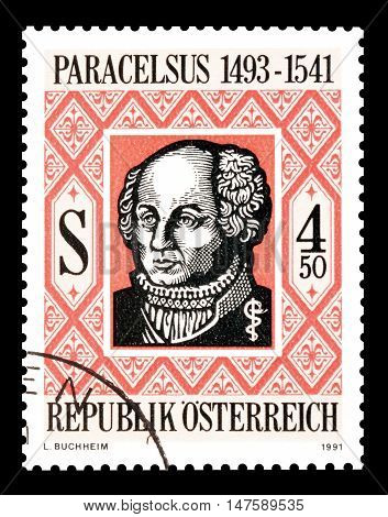AUSTRIA - CIRCA 1991 : Cancelled postage stamp printed by Austria, that shows Paracelsus.