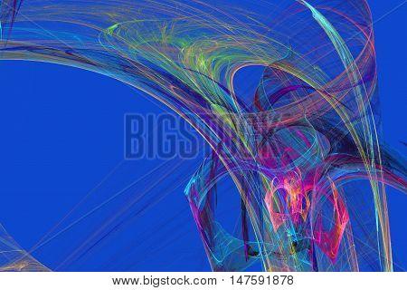 Abstract colorful lightning fractal blue background. Light drawing laser. Fractal art background for creative design. Decoration for wallpaper desktop.