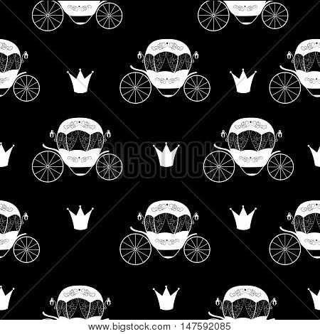 Princess Cinderella Fairytale Carriage. Seamless Pattern Background. Vector Illustration. EPS10