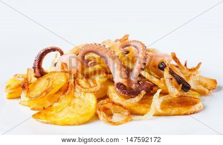 Appetizer of cuttlefish octopus, mussels, shrimp and fried potatoes. White background. Copy space for your design. macro view