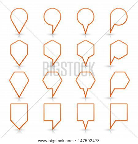 Orange map pin sign location icon with gray shadow and reflection on white background in simple flat style. This web design element save in vector illustration 8 eps
