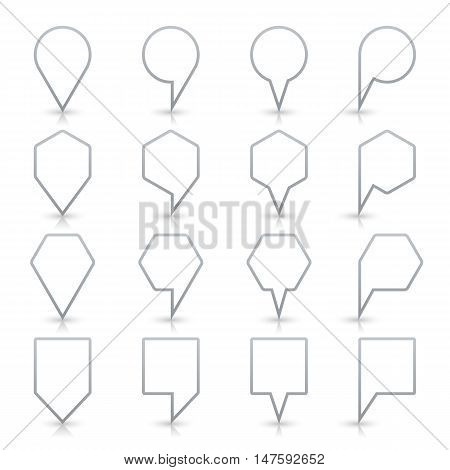 Gray map pin sign location icon with gray shadow and reflection on white background in simple flat style. This web design element save in vector illustration 8 eps